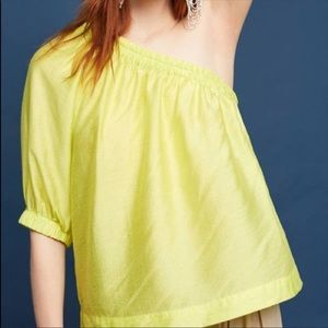 Maeve Leonie One Shoulder Top Chartreuse Sheen